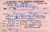 Alabama Coal Mining Receipt for the W.C.  Handy Library